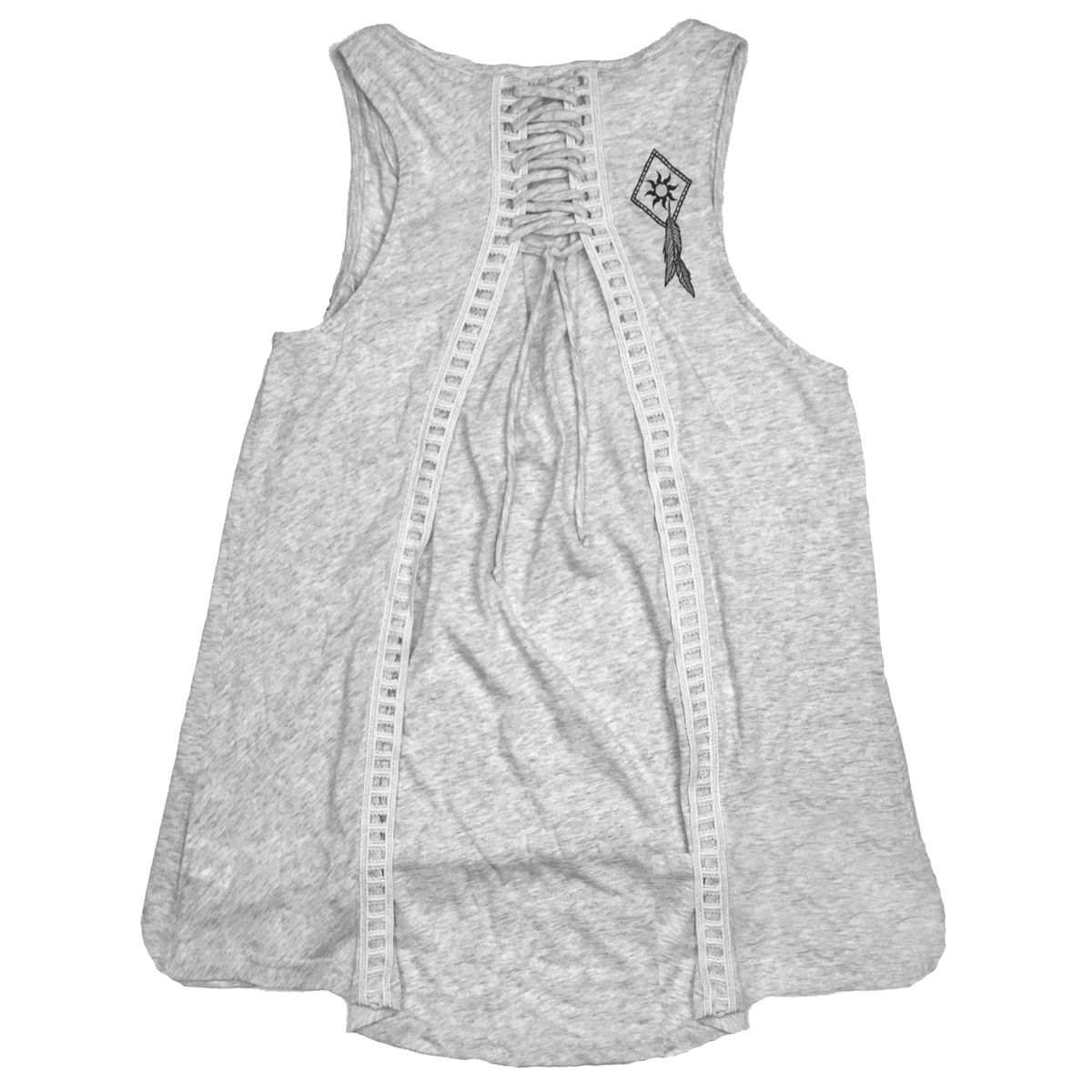Ladies Couture Laced Back Tank Heather Oatmeal 1