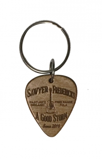Wood Guitar Pick KeyChain, Free Range Folk Design