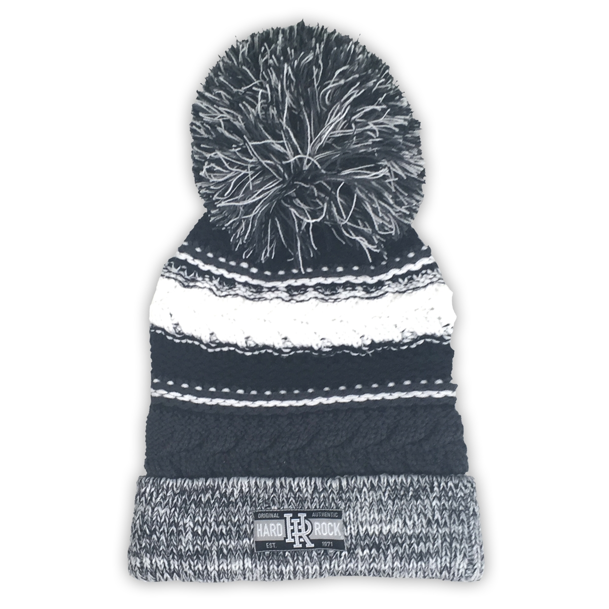 Pom Pom Beanie Grey Black White 0
