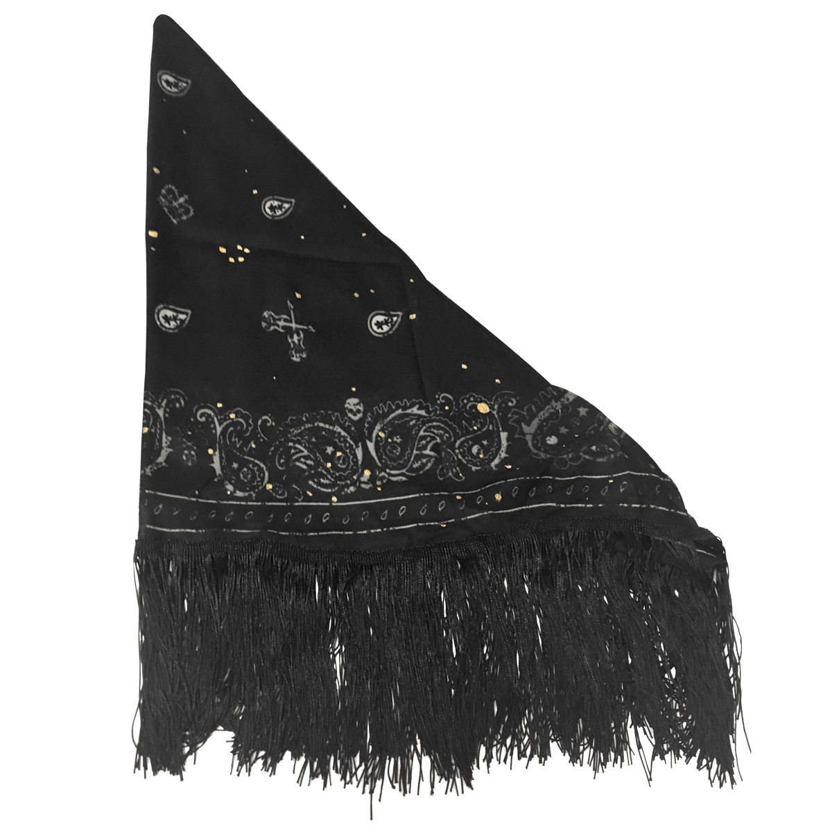 Couture Triangle Fringe Scarf Black 0