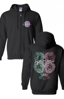 Rose Zip Up Hoodie (Black)