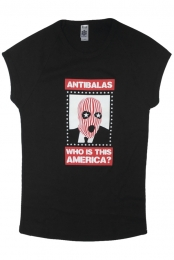 Womens Who Is This America Cap Tee (Black)