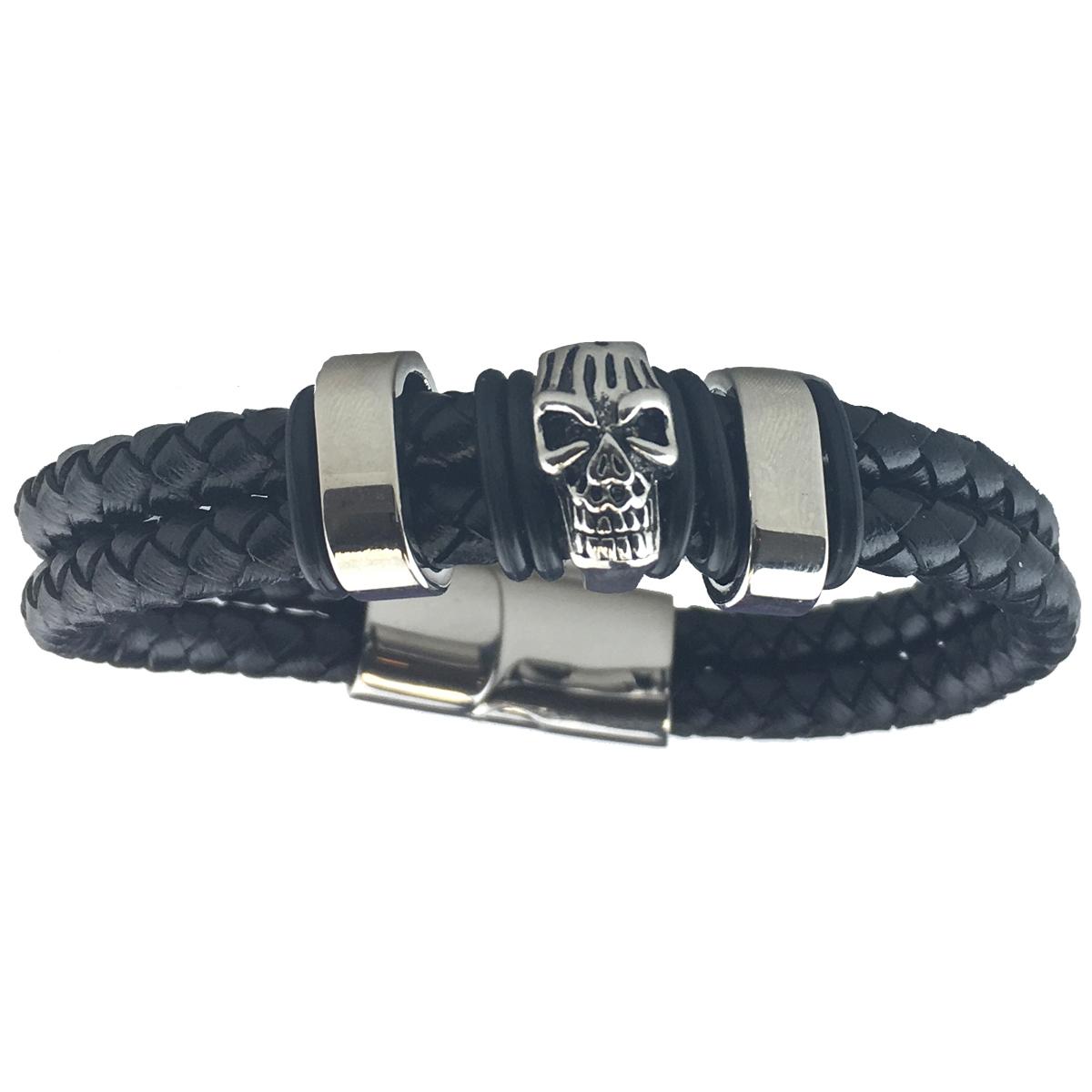 Skull Slide Clasp Bracelet Black 0