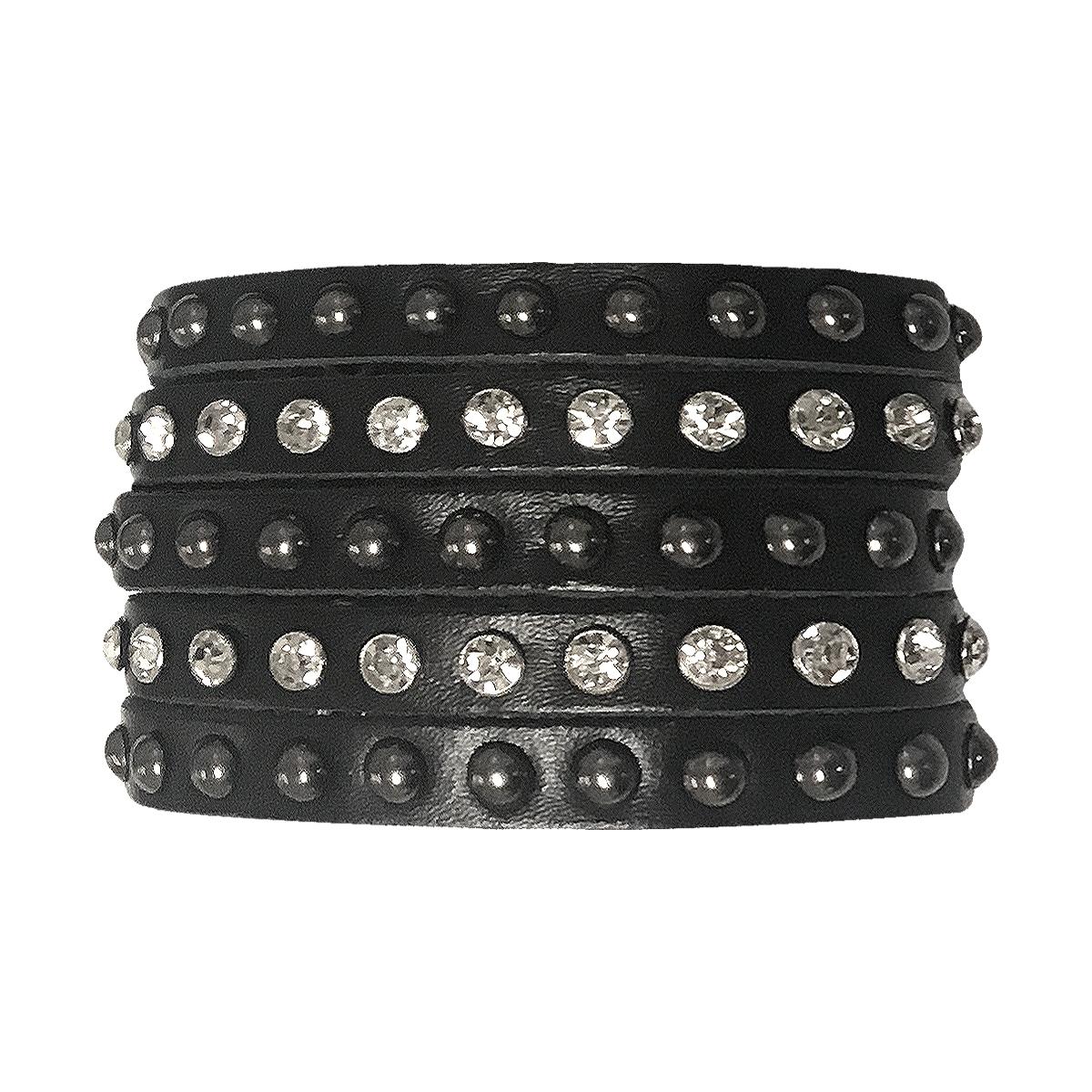 Studded Stacked Leather Bracelet 0