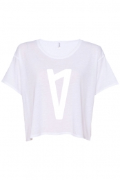 V Logo Ladies Boxy Tee (White)