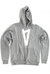 V Logo Pullover Hoodie (Athletic Grey)