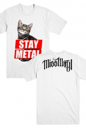 Stay Metal Cat Tee (White)