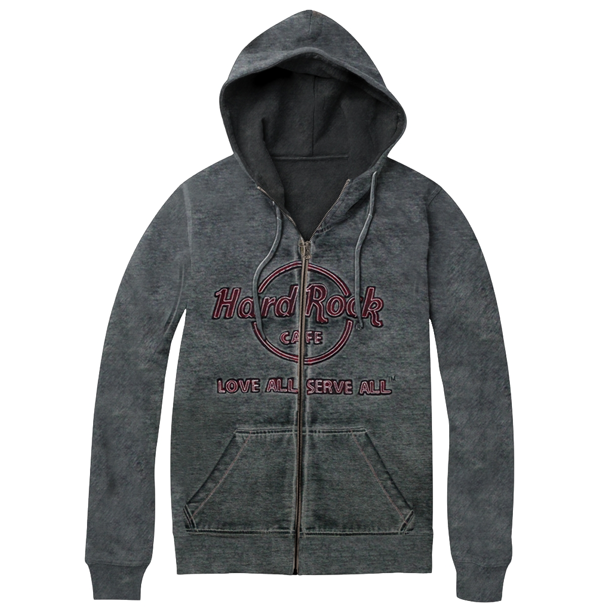 Mens Double Burnout Zip Hood Charcoal 0