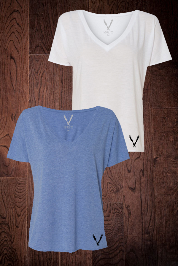Women's Slouchy V-Neck Tee (Blue) + Women's Slouchy V-Neck Tee (White)