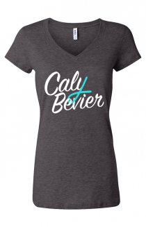 Ladies Ribbon V-Neck (Dark Heather Grey)