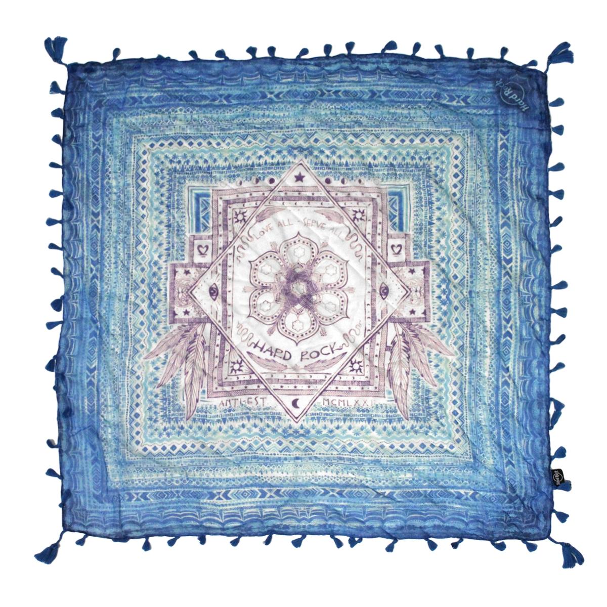 Indigo Pattern Fringe Scarf Blue 0