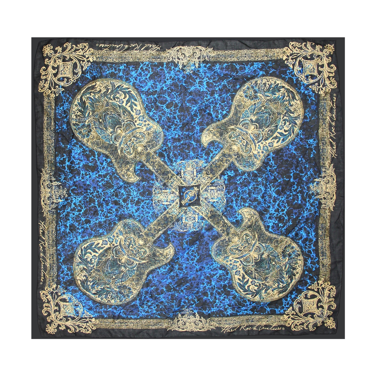 Couture Framed Guitar Lapis Scarf 0