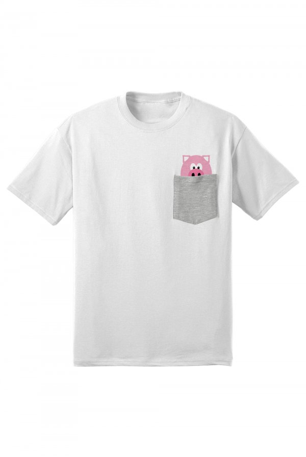 Mr. Pig Pocket Tee (White/Athletic Grey)