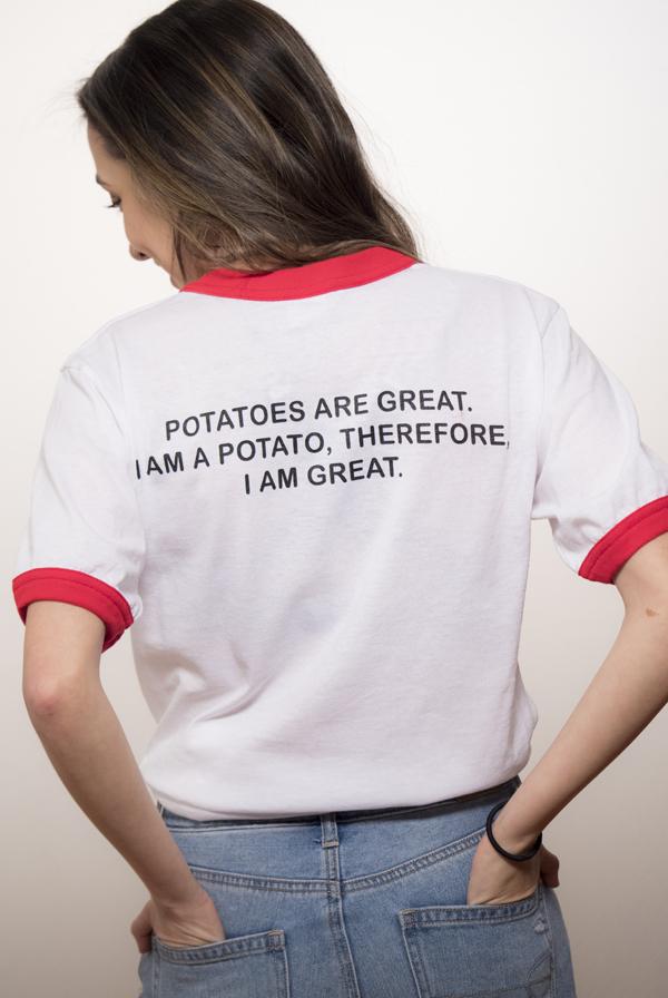 Potato Ringer Tee White Red T Shirt Merrell Twins T