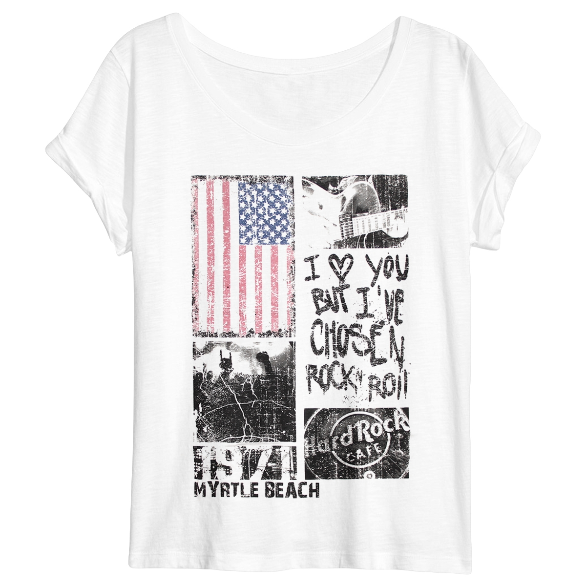 Ladies Sheer Panel Flag Tee Myrtle Beach 0