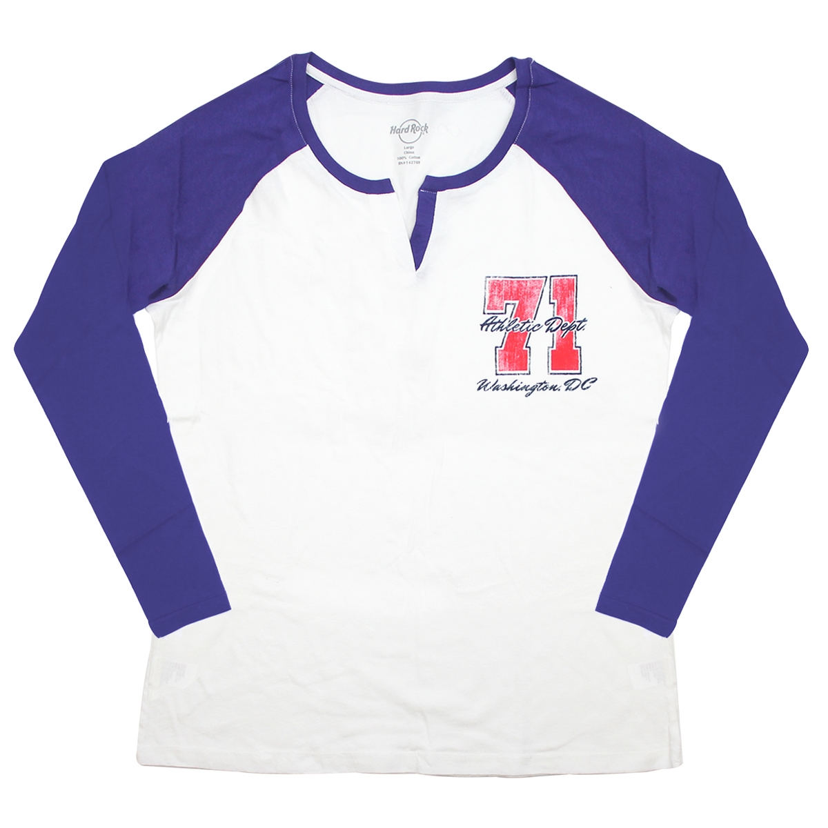 Ladies 3 Quarter Sleeve Raglan Henley Washington 0