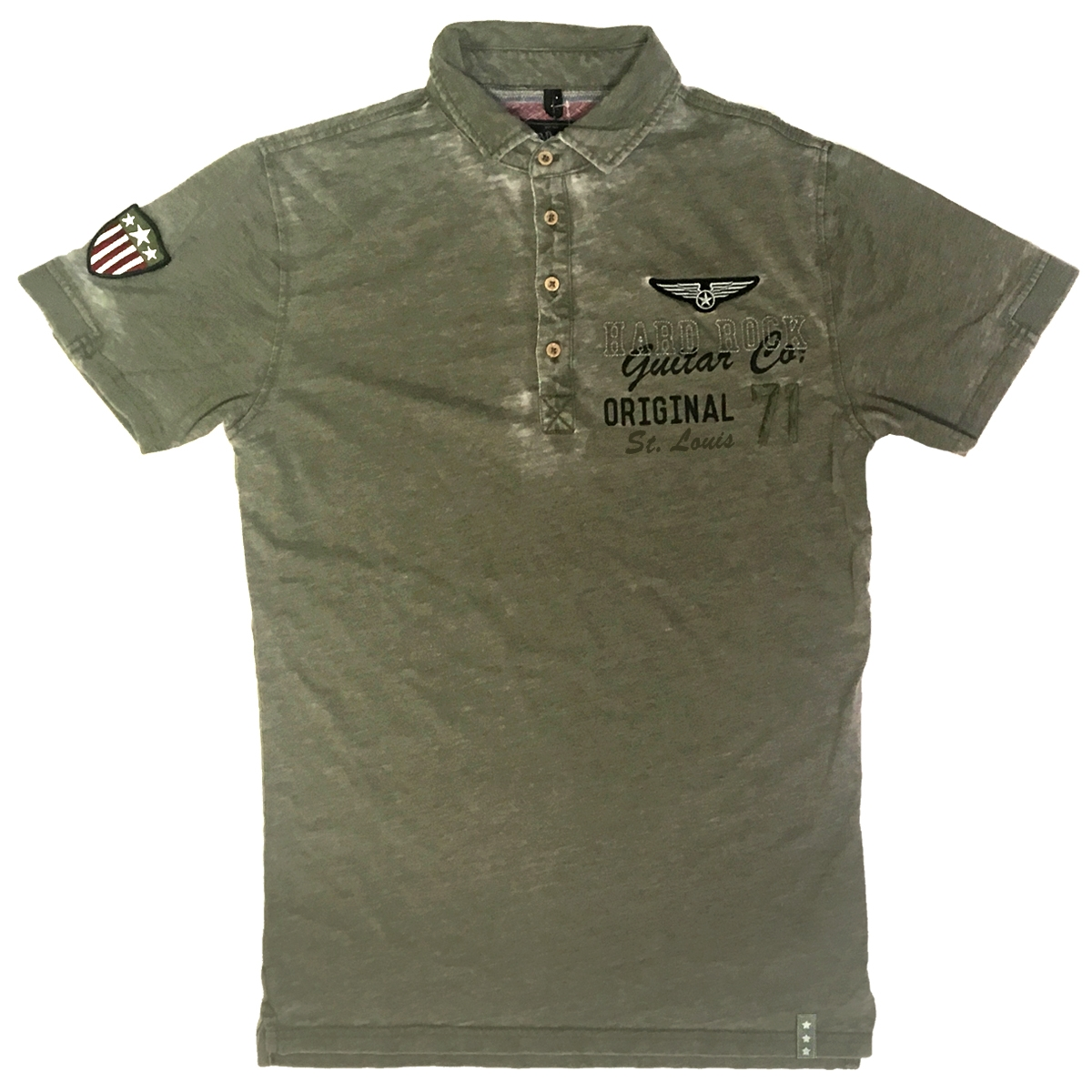 Mens Guitar Company Burnout Military Polo St Louis 0