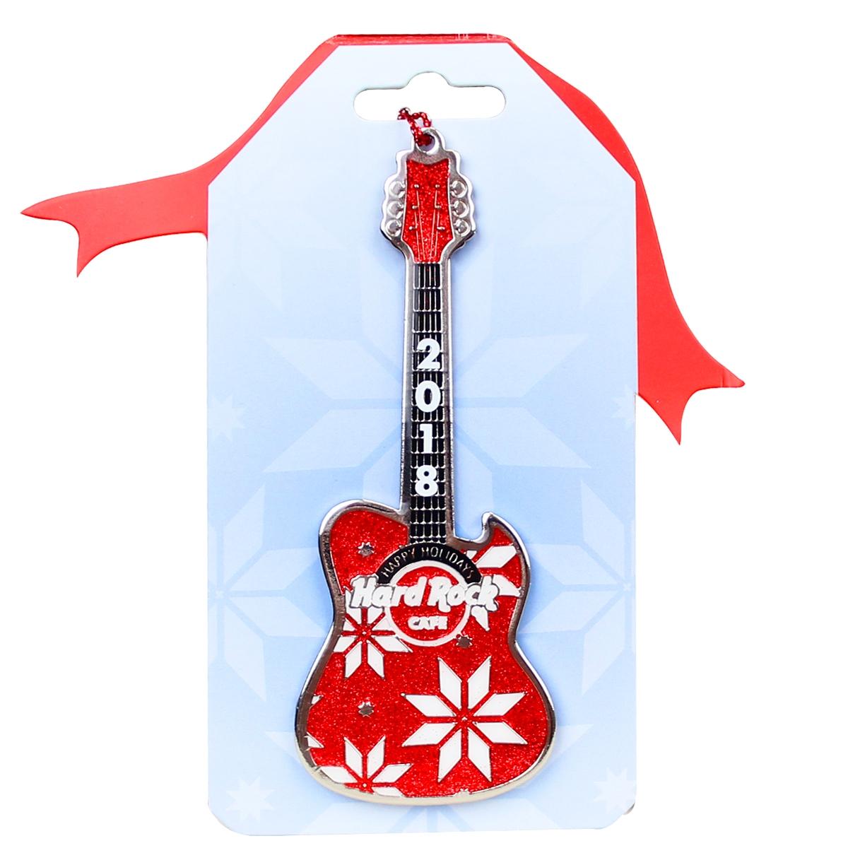 Red Guitar Ornament 18 0