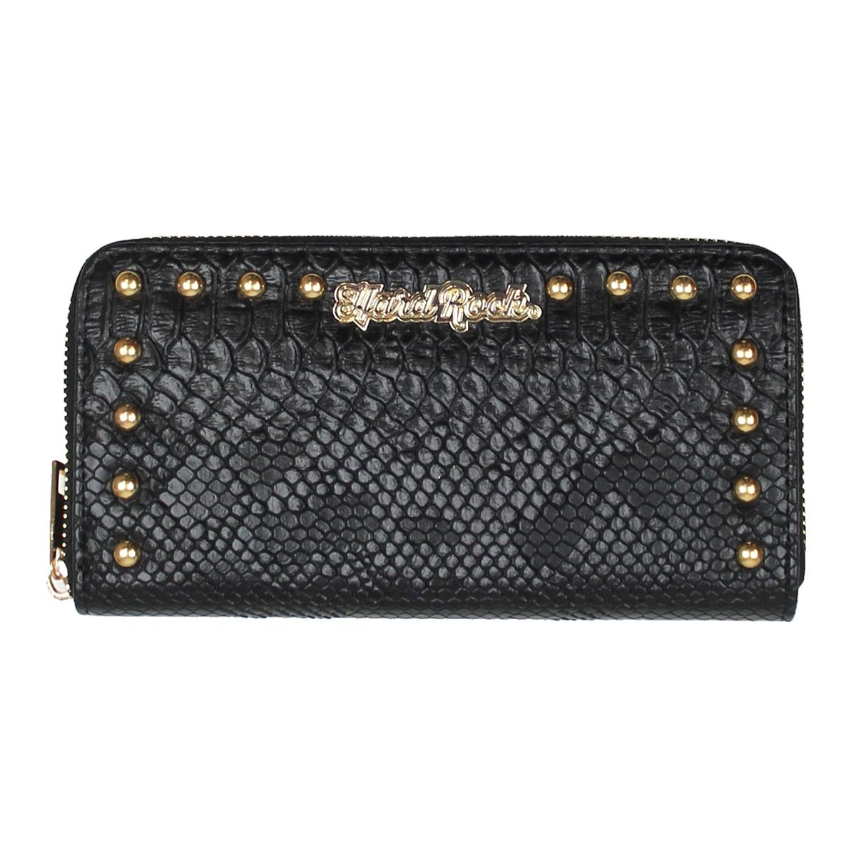 Ladies Faux Skin Studded Wallet Black 0