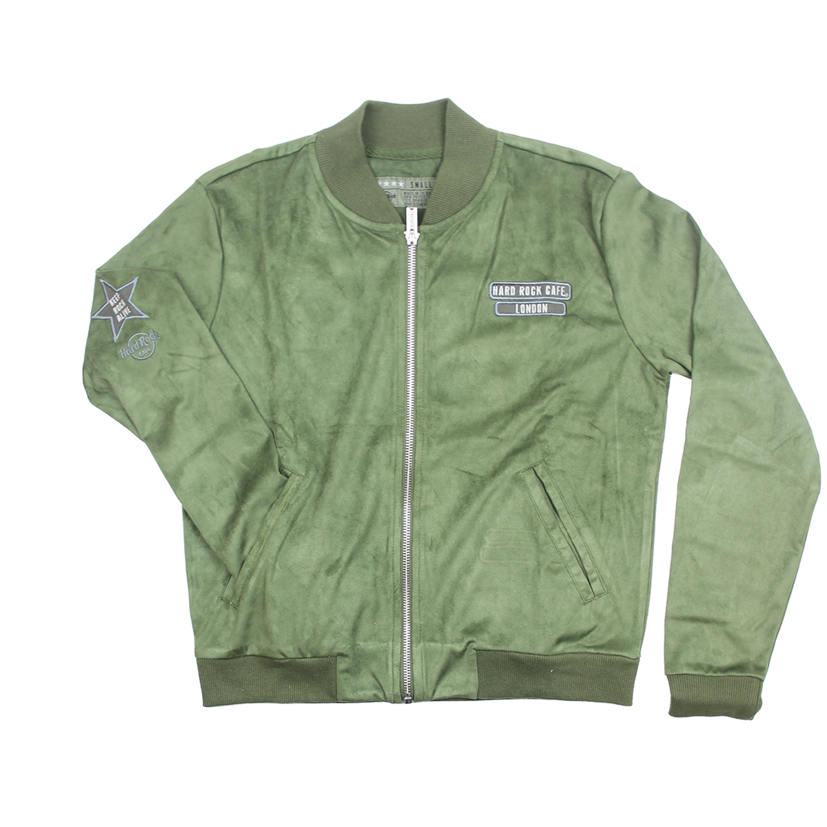 Ladies Sueded Bomber Jacket Military Green London 0