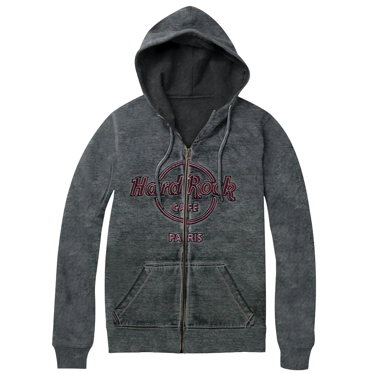 Men's Double Burnout Zip Hood Charcoal, Paris 0