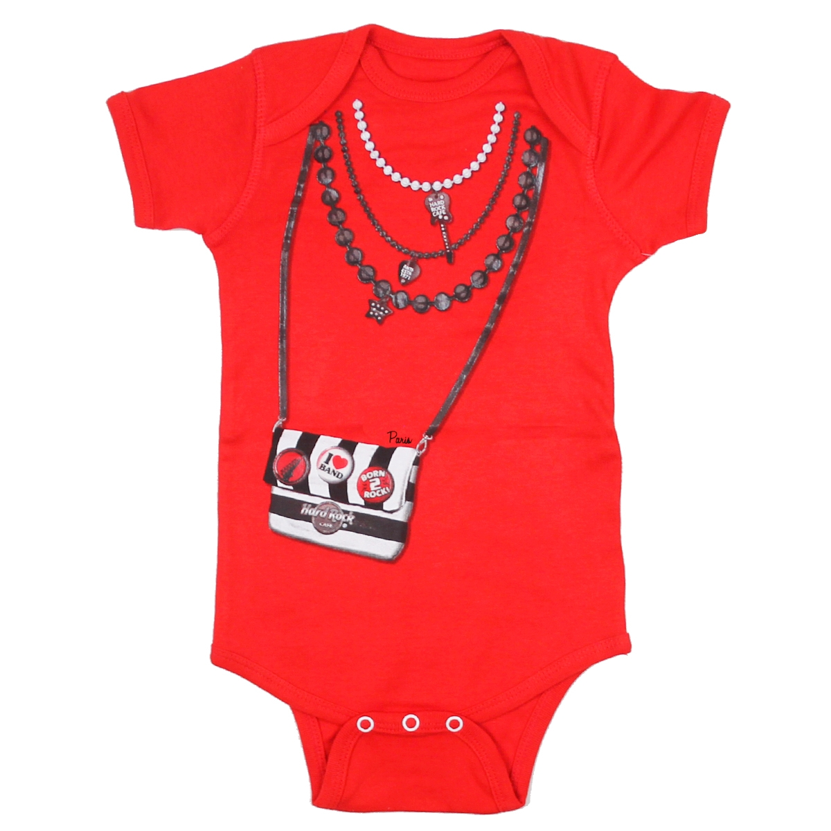 Girls Red Purse Onesie, Paris 0