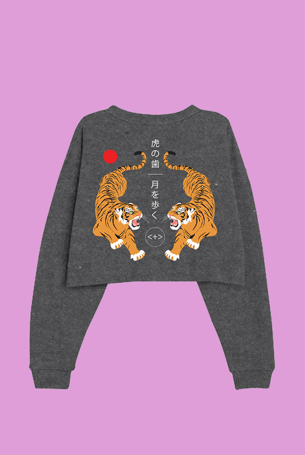 Tiger Teeth Cropped Ladies Sweatshirt