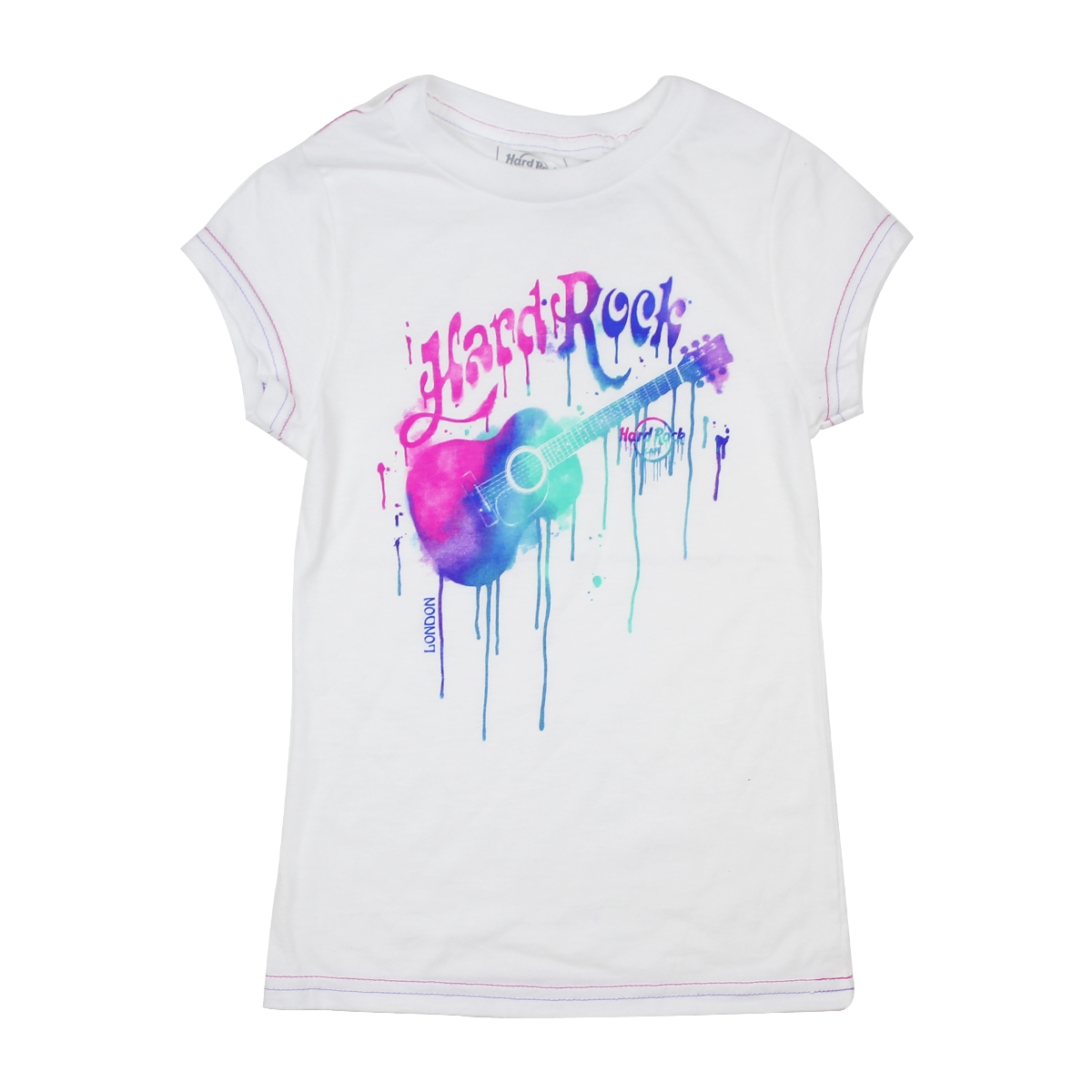 Girls White Paint Drip Guitar Tee, London 0