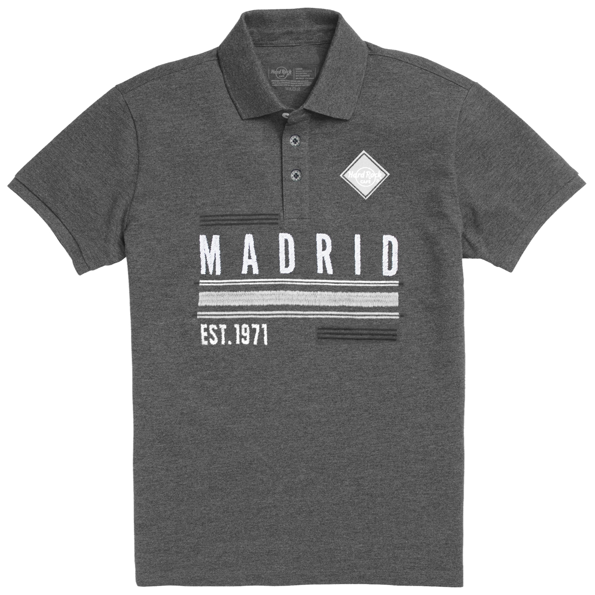 Men's Charcoal Destination Pique Polo, Madrid 0