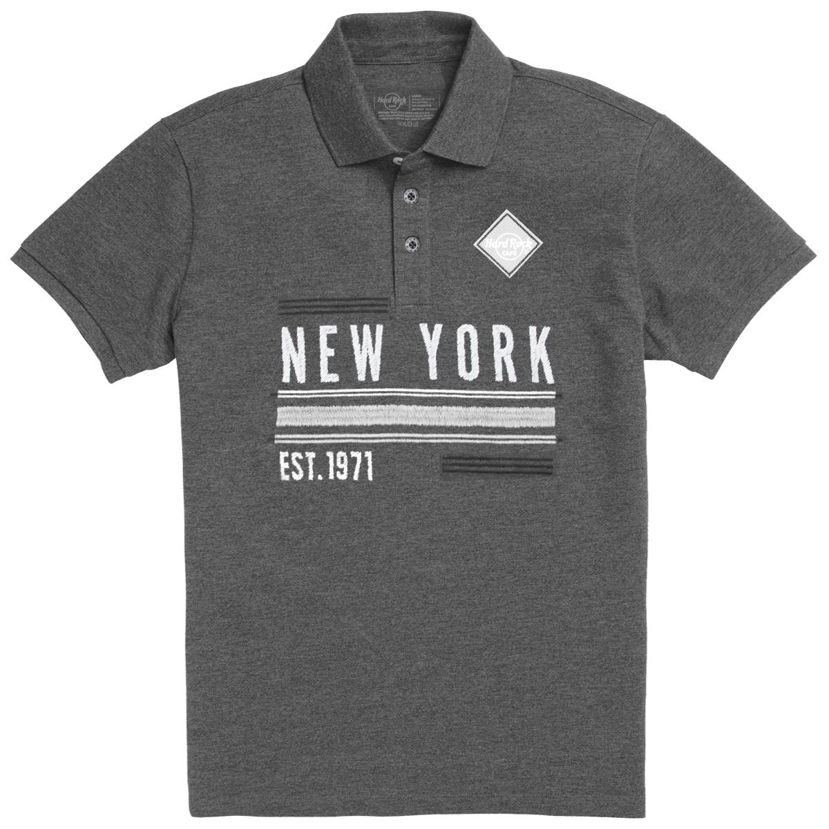 Men's Charcoal Destination Pique Polo, New York 0