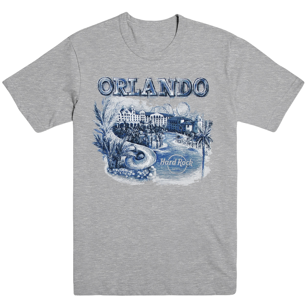 Mens Cityscape Tee Heather Grey, Orlando Hotel 0