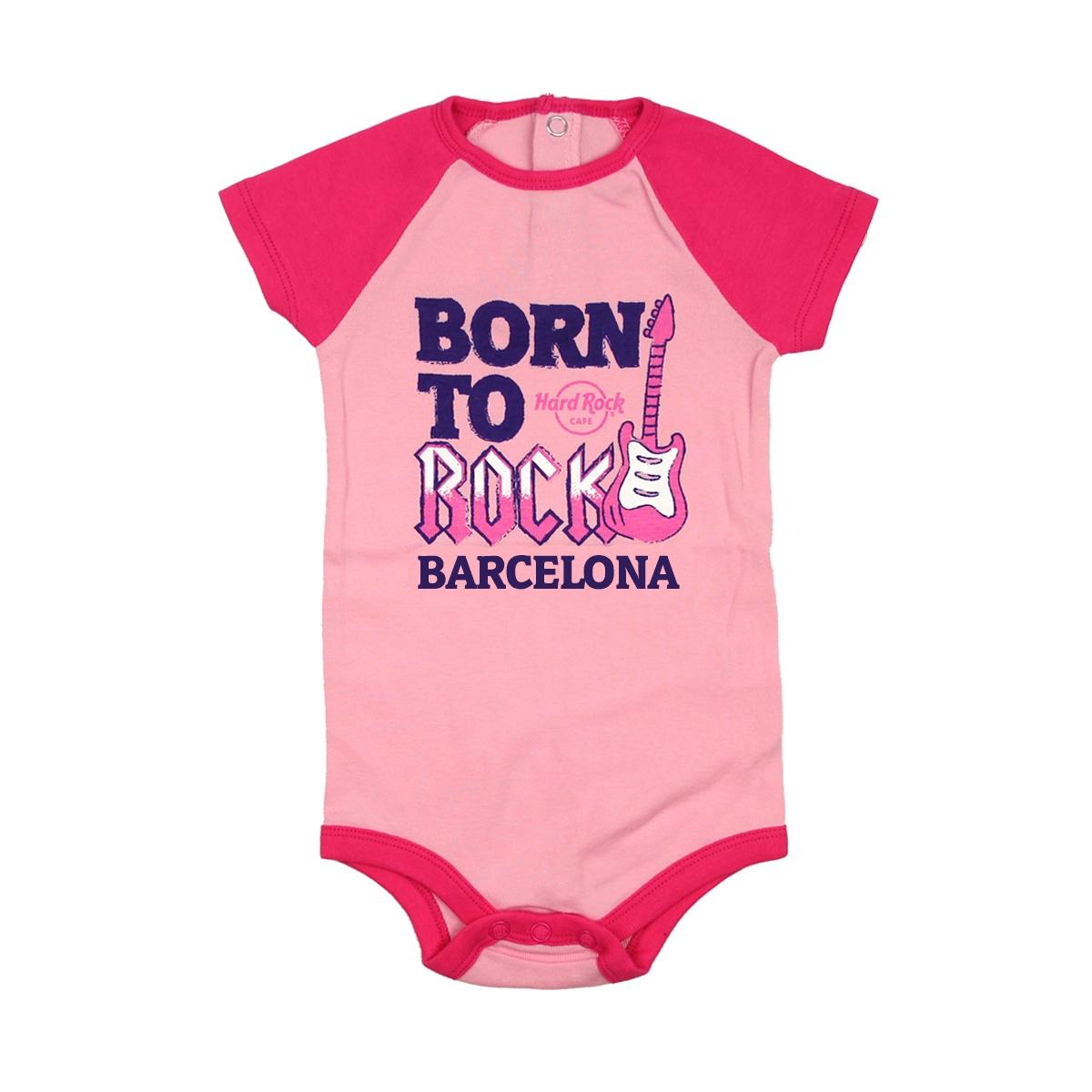 Girls Infant Colorblock Raglan Onesie Pink, Barcelona 0