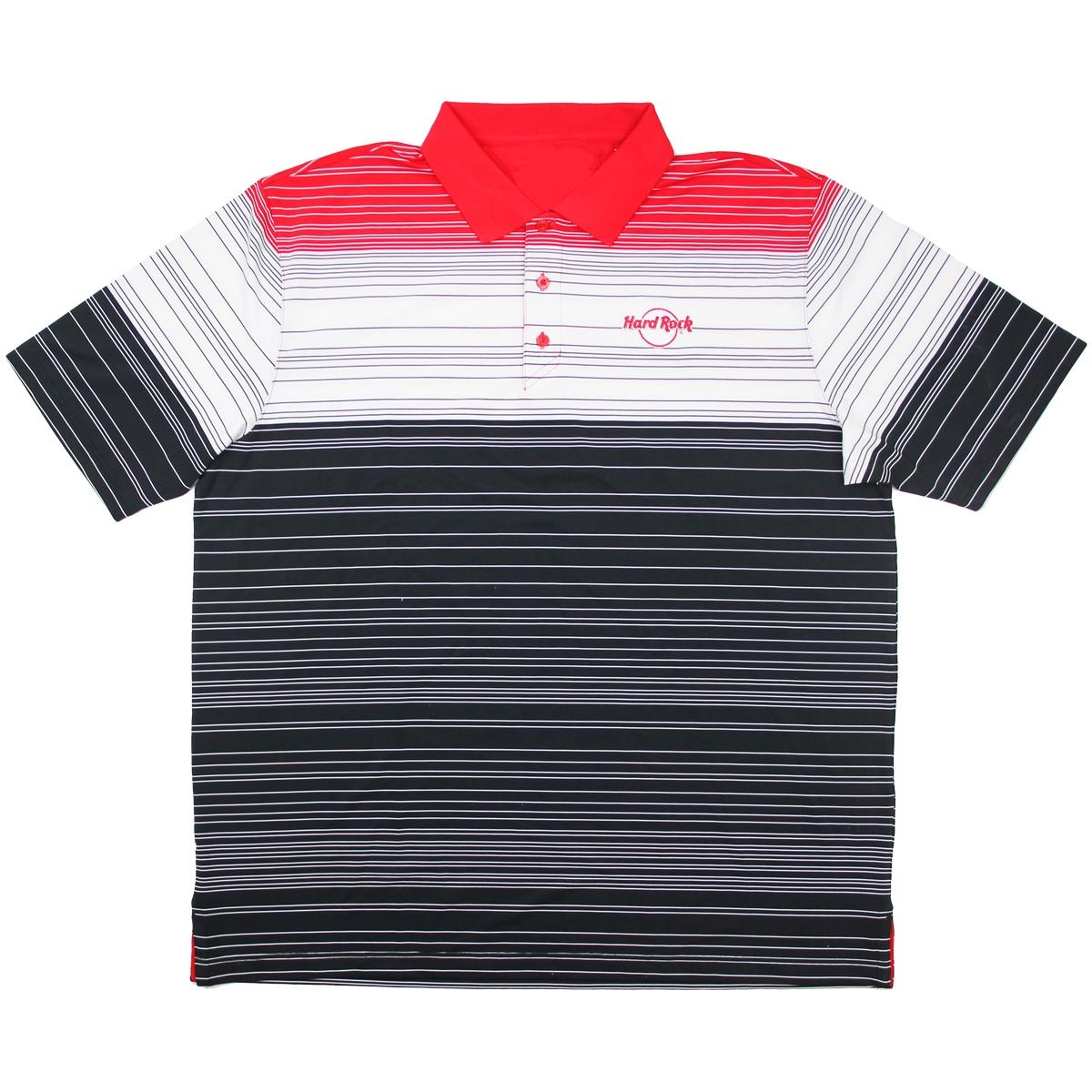 Mens Stripe Performance Polo Red Black White, Orlando Hotel 0