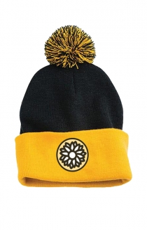 Sunflower Pom Beanie (Black/Yellow)