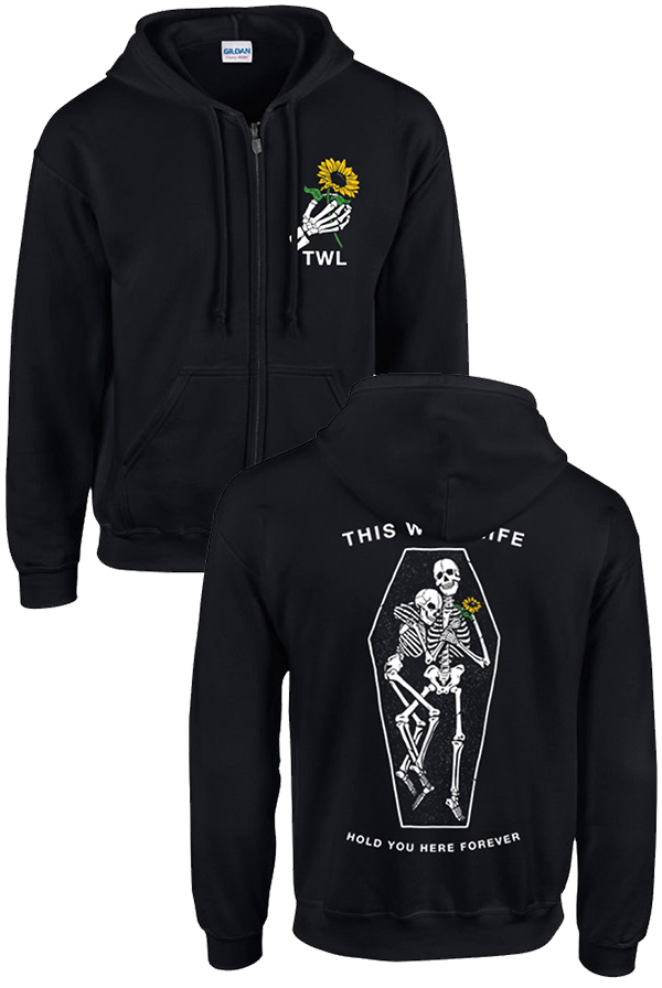 Hold You Here Zip Up Hoodie (Black)