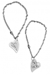 Sawyer's So Lucky D'ears Heart Charm Bracelet (Silver)