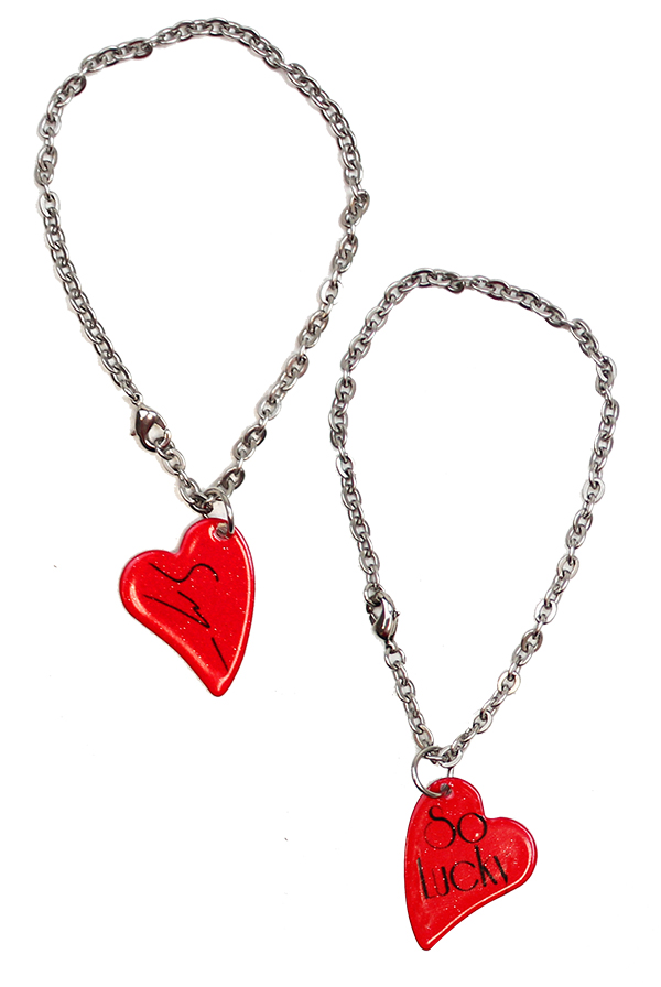 "Sawyer's ""So Lucky"" D'ears Heart Charm Bracelet (Red)"