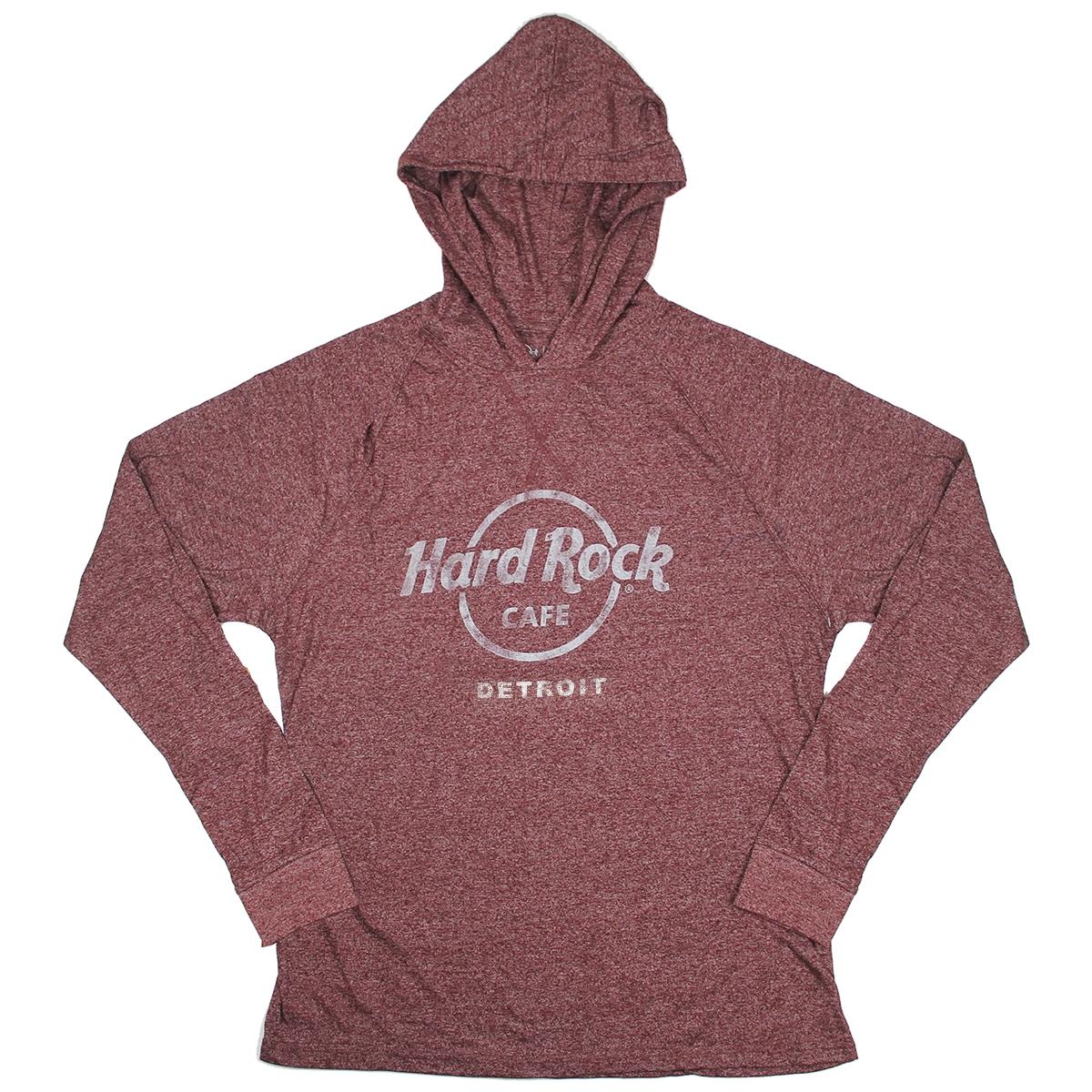 Mens Athletic Pullover Hood Tee Maroon Detroit 0