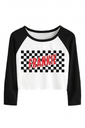 Checkers Cropped Raglan