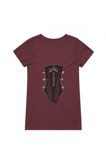 Guitar Head Ladies V-Neck (Maroon Triblend)