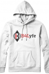 B4Lyfe Signature Line Pullover Hoodie (White)