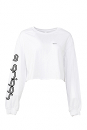Q Griggs Long Sleeve Crop Top (White)