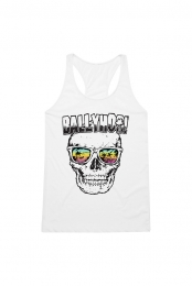 Skull in Shades Ladies Tank (White)