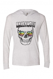 Skull in Shades L/S T-Shirt Hoodie (White)