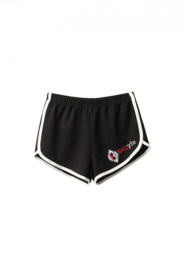 B4Lyfe Signature Line Ladies Shorts (Black/White)