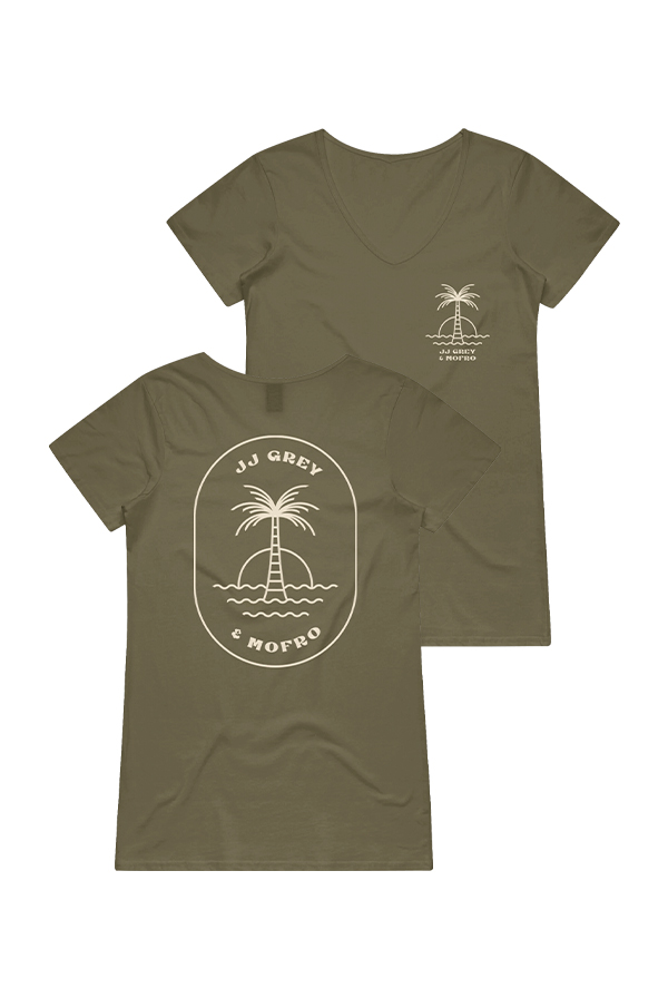 Palm Ladies V-Neck (Military Green)