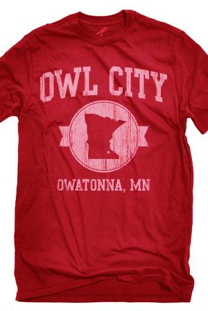 Owatonna (Red) T-Shirt - Owl City Tour T-Shirts - Online