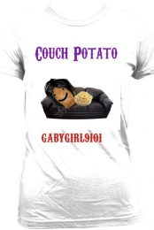''Couch Potato'' White Tee Women