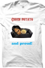 ''Couch Potato'' White Tee Men