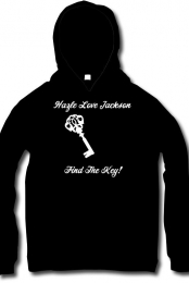 'Find The Key!' Pullover Hoodie: Black and White